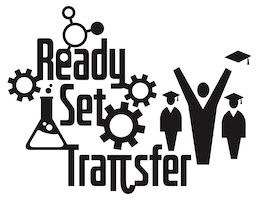 science icons to the left of three stick figures with graduation caps and the text ready set transfer